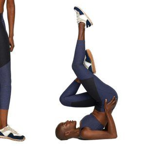 Outdoor Voices 3/4 navy & charcoal leggings